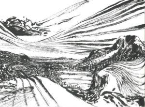 Lorenzo Mattotti Appunti sul paesaggio - inchiostro di china cm. 40x30